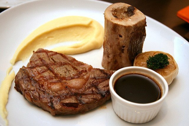 USDA Choice Ribeye (220g), bone marrow, bordelaise sauce and mashed potato