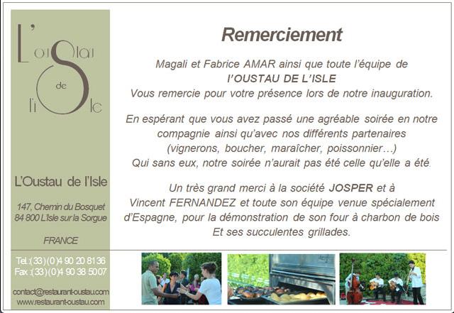 Agradecimiento por el evento del propietario de L'Oustau de L'Isle a Josper
