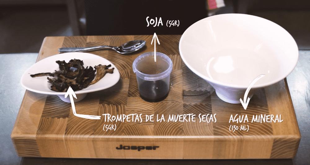 Ingredientes ostra con té de trompetas de la muerte