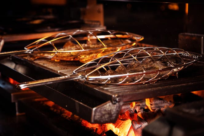 Fish on a open grill